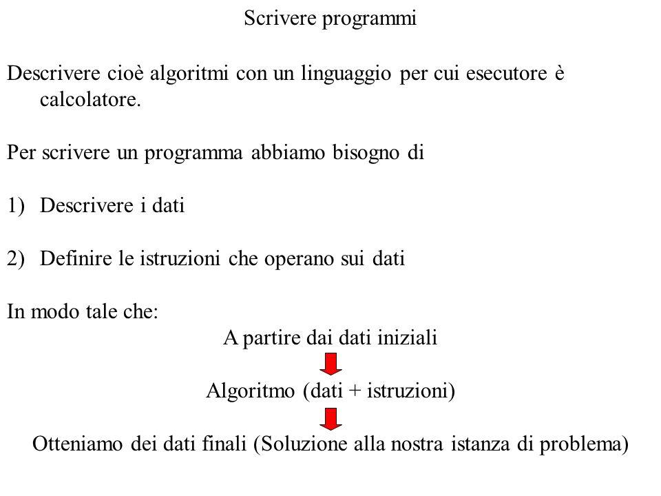 Descrivere cioè algoritmi con un linguaggio per cui esecutore è calcolatore. Per scrivere un programma abbiamo bisogno di 1)Descrivere i dati 2)Defini