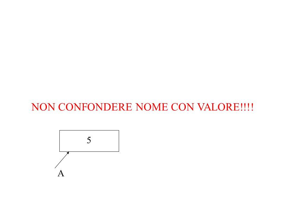 NON CONFONDERE NOME CON VALORE!!!! A 5