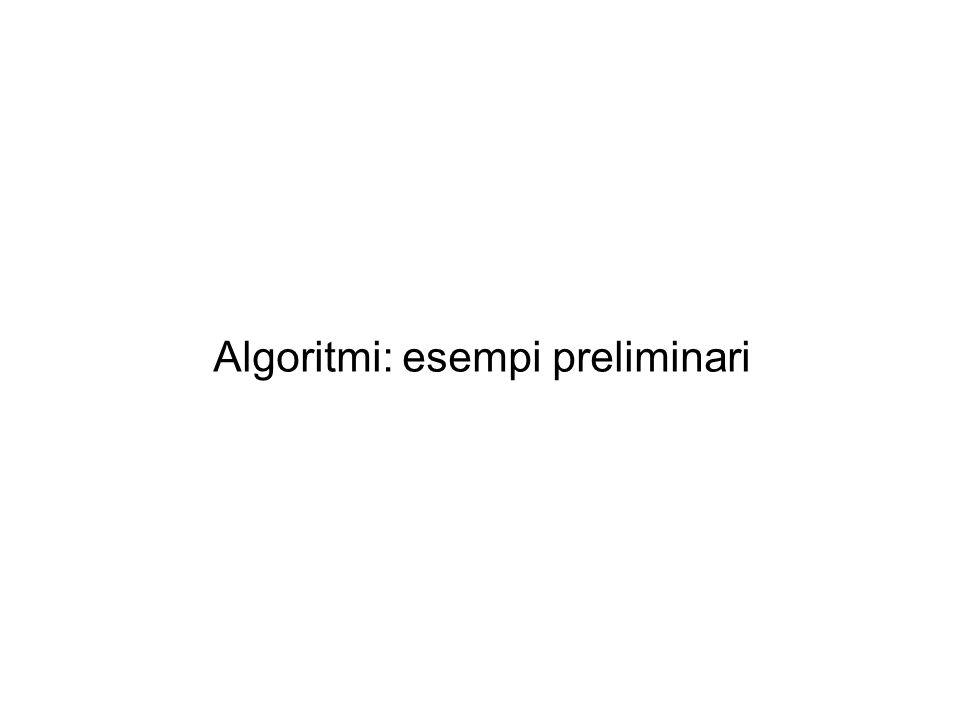 Algoritmi-esempi preliminari Il problema dei secchi Sono presenti due secchi con capacità volumetrica rispettivamente di 3 e 4 litri.