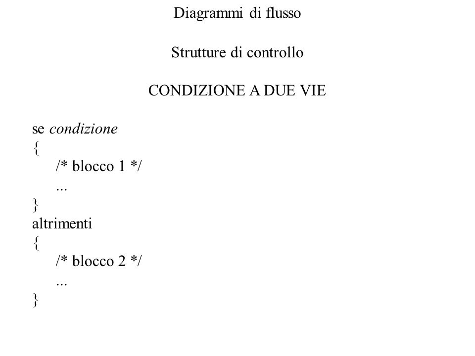 Diagrammi di flusso Strutture di controllo CONDIZIONE A DUE VIE se condizione { /* blocco 1 */... } altrimenti { /* blocco 2 */... }