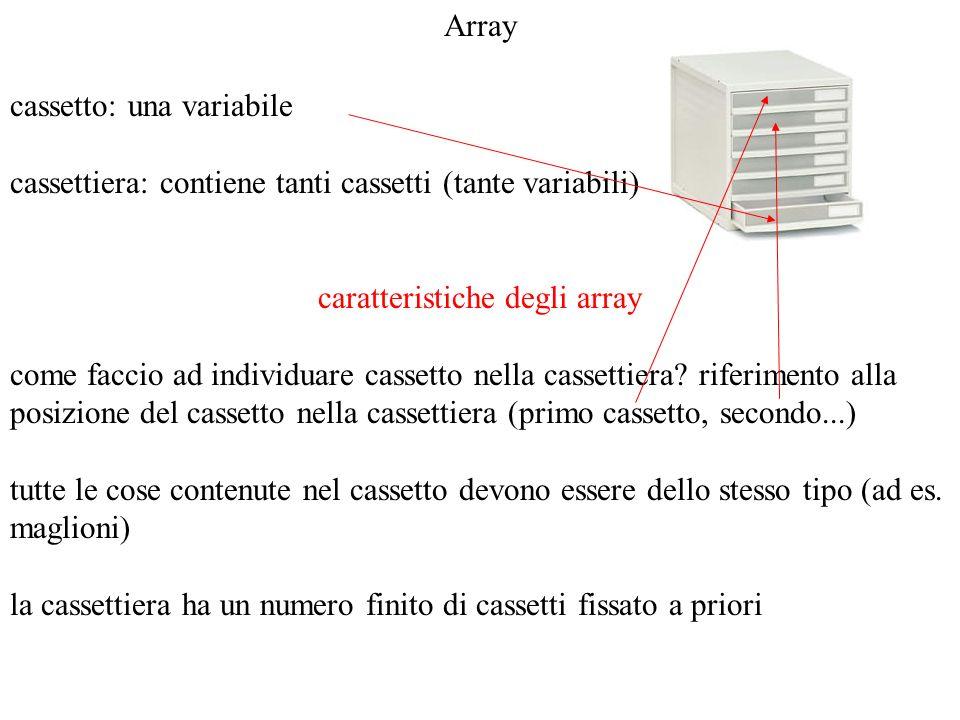 Array cassetto: una variabile cassettiera: contiene tanti cassetti (tante variabili) caratteristiche degli array come faccio ad individuare cassetto n
