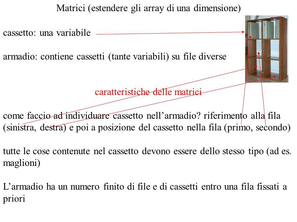 Matrici (estendere gli array di una dimensione) cassetto: una variabile armadio: contiene cassetti (tante variabili) su file diverse caratteristiche d