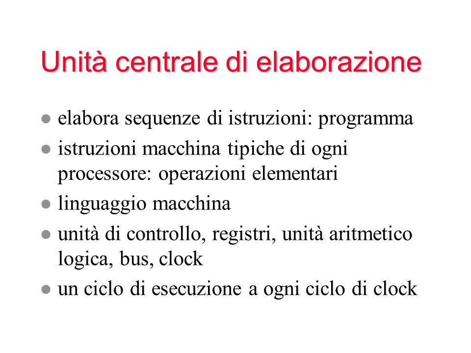 Unità centrale di elaborazione l elabora sequenze di istruzioni: programma l istruzioni macchina tipiche di ogni processore: operazioni elementari l l