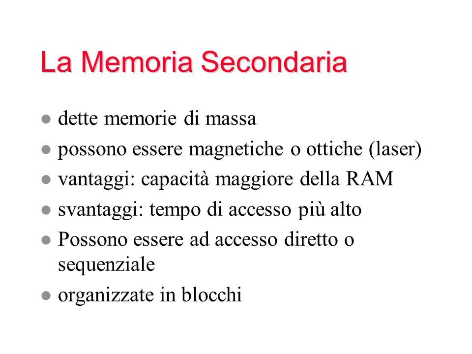 La Memoria Secondaria l dette memorie di massa l possono essere magnetiche o ottiche (laser) l vantaggi: capacità maggiore della RAM l svantaggi: tempo di accesso più alto l Possono essere ad accesso diretto o sequenziale l organizzate in blocchi