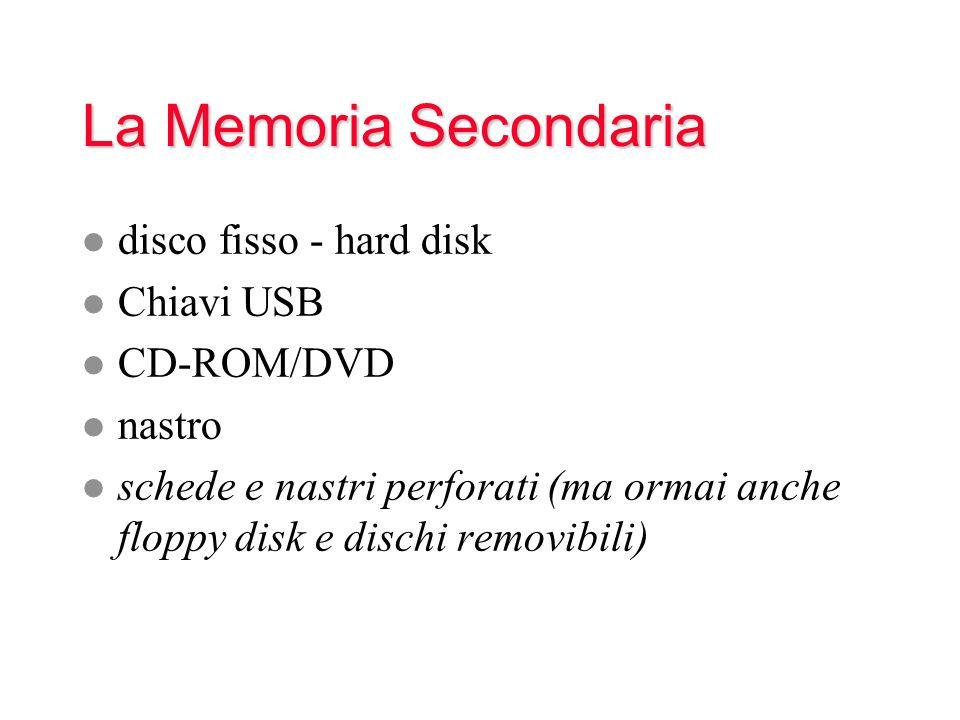 La Memoria Secondaria l disco fisso - hard disk l Chiavi USB l CD-ROM/DVD l nastro l schede e nastri perforati (ma ormai anche floppy disk e dischi removibili)