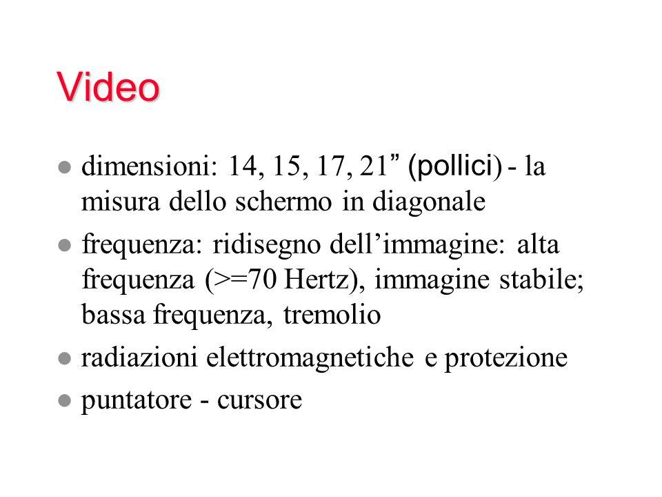 Video dimensioni: 14, 15, 17, 21 (pollici ) - la misura dello schermo in diagonale l frequenza: ridisegno dellimmagine: alta frequenza (>=70 Hertz), i