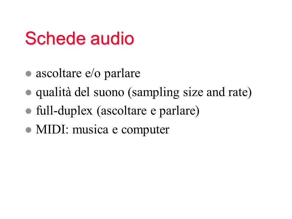 Schede audio l ascoltare e/o parlare l qualità del suono (sampling size and rate) l full-duplex (ascoltare e parlare) l MIDI: musica e computer