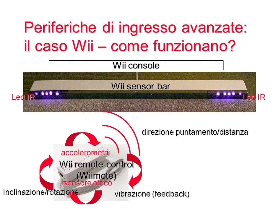 Periferiche di ingresso avanzate: il caso Wii – come funzionano? direzione puntamento/distanza Wii console Led IR Wii sensor bar Wii remote control (W