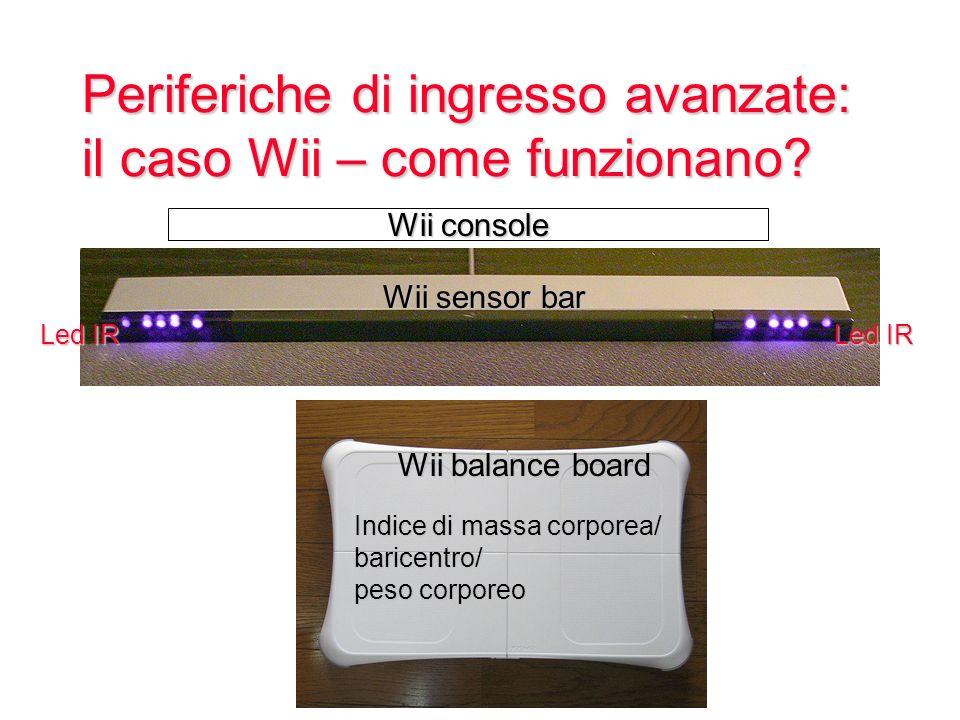 Periferiche di ingresso avanzate: il caso Wii – come funzionano? Wii console Led IR Wii sensor bar Indice di massa corporea/ baricentro/ peso corporeo