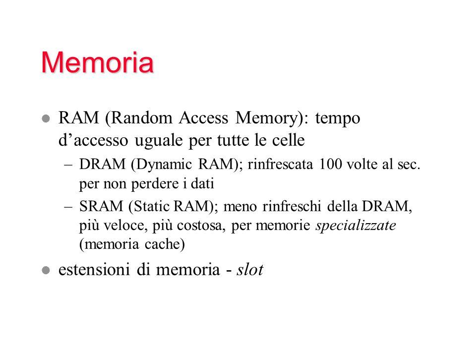 Memoria l RAM (Random Access Memory): tempo daccesso uguale per tutte le celle –DRAM (Dynamic RAM); rinfrescata 100 volte al sec. per non perdere i da