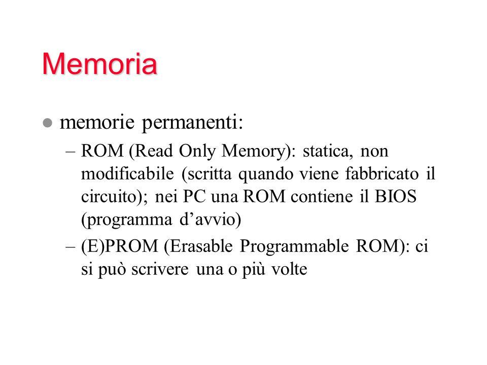 Memoria l memorie permanenti: –ROM (Read Only Memory): statica, non modificabile (scritta quando viene fabbricato il circuito); nei PC una ROM contiene il BIOS (programma davvio) –(E)PROM (Erasable Programmable ROM): ci si può scrivere una o più volte