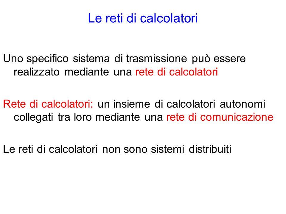 Le reti di calcolatori Uno specifico sistema di trasmissione può essere realizzato mediante una rete di calcolatori Rete di calcolatori: un insieme di calcolatori autonomi collegati tra loro mediante una rete di comunicazione Le reti di calcolatori non sono sistemi distribuiti