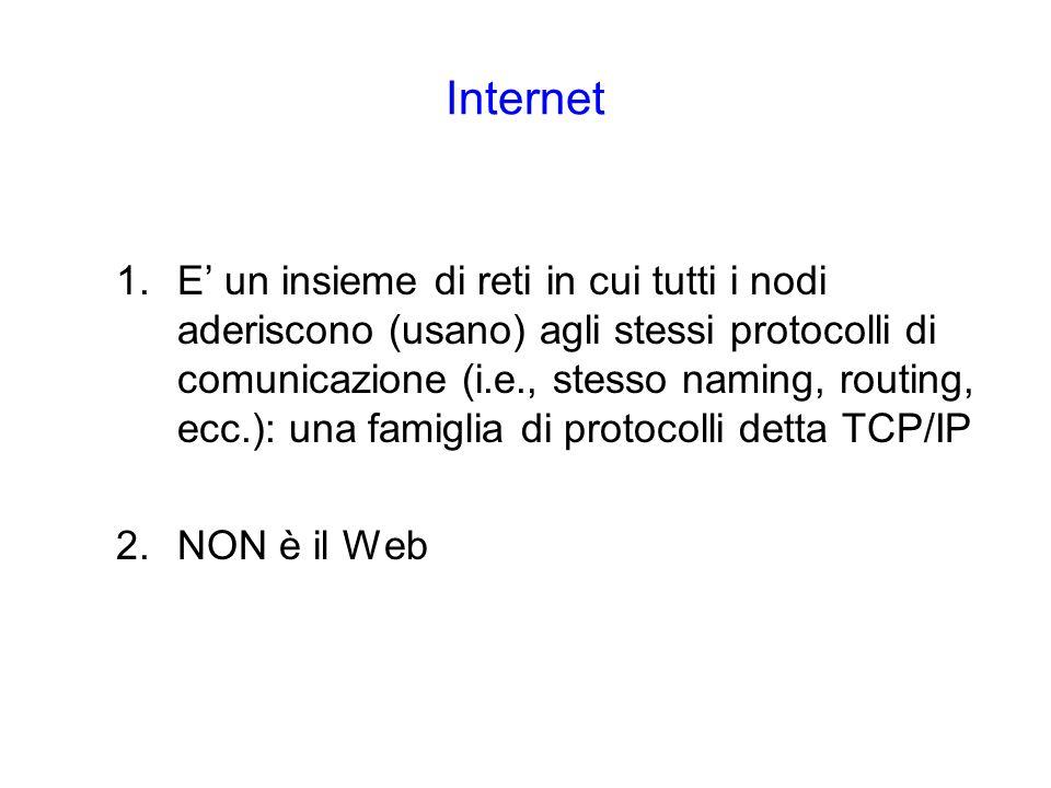 Internet 1.E un insieme di reti in cui tutti i nodi aderiscono (usano) agli stessi protocolli di comunicazione (i.e., stesso naming, routing, ecc.): una famiglia di protocolli detta TCP/IP 2.NON è il Web