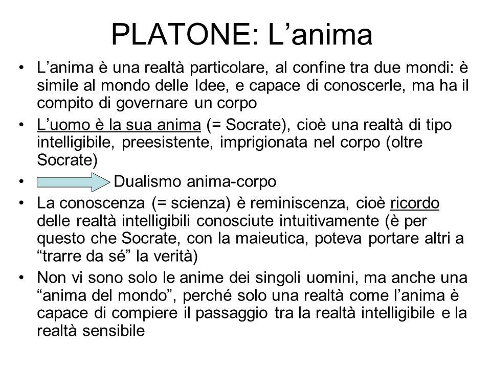 PLATONE: Lanima Lanima è una realtà particolare, al confine tra due mondi: è simile al mondo delle Idee, e capace di conoscerle, ma ha il compito di g