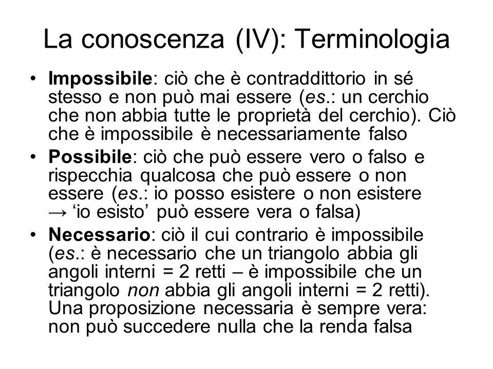 La conoscenza (IV): Terminologia Impossibile: ciò che è contraddittorio in sé stesso e non può mai essere (es.: un cerchio che non abbia tutte le prop