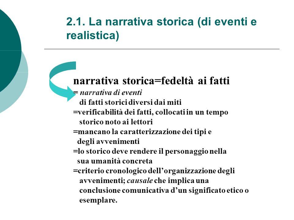 2.1. La narrativa storica (di eventi e realistica) narrativa storica=fedeltà ai fatti = narrativa di eventi di fatti storici diversi dai miti =verific