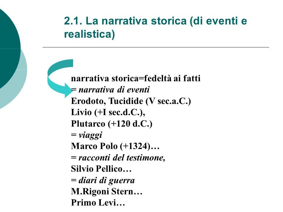 2.1. La narrativa storica (di eventi e realistica) narrativa storica=fedeltà ai fatti = narrativa di eventi Erodoto, Tucidide (V sec.a.C.) Livio (+I s