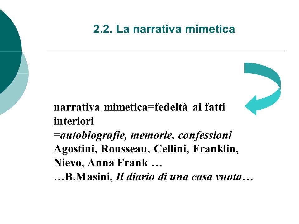 2.2. La narrativa mimetica narrativa mimetica=fedeltà ai fatti interiori =autobiografie, memorie, confessioni Agostini, Rousseau, Cellini, Franklin, N