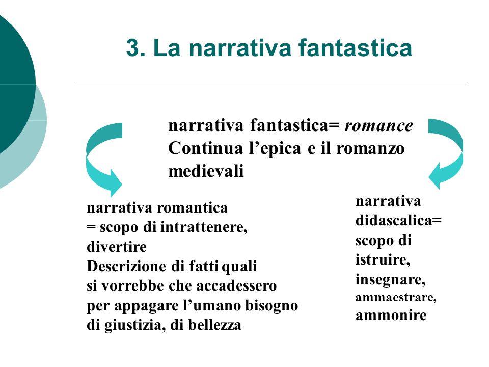 3. La narrativa fantastica narrativa fantastica= romance Continua lepica e il romanzo medievali narrativa romantica = scopo di intrattenere, divertire
