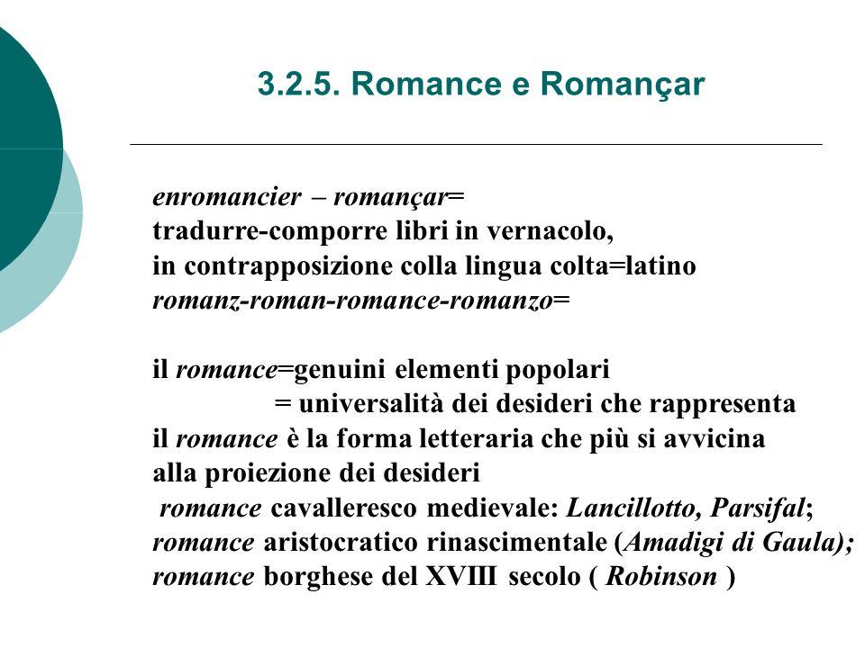 3.2.5. Romance e Romançar enromancier – romançar= tradurre-comporre libri in vernacolo, in contrapposizione colla lingua colta=latino romanz-roman-rom