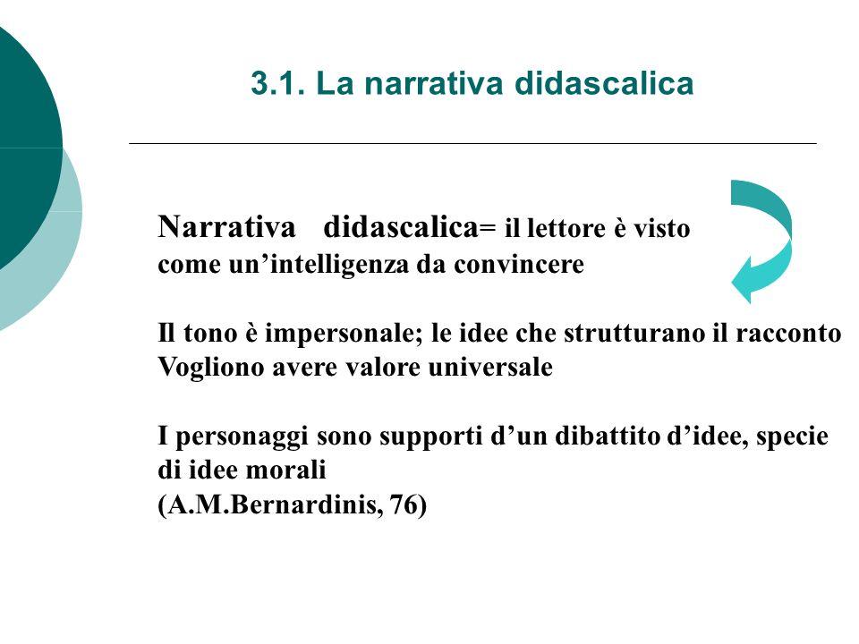 3.1. La narrativa didascalica Narrativa didascalica = il lettore è visto come unintelligenza da convincere Il tono è impersonale; le idee che struttur