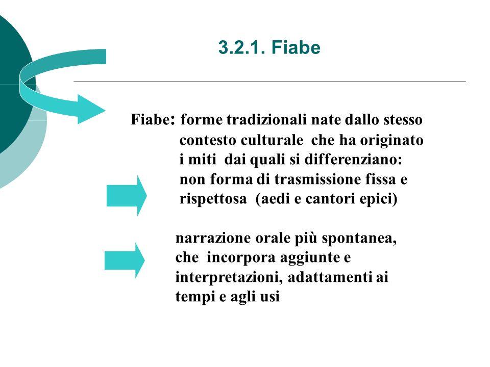 3.2.1. Fiabe Fiabe : forme tradizionali nate dallo stesso contesto culturale che ha originato i miti dai quali si differenziano: non forma di trasmiss