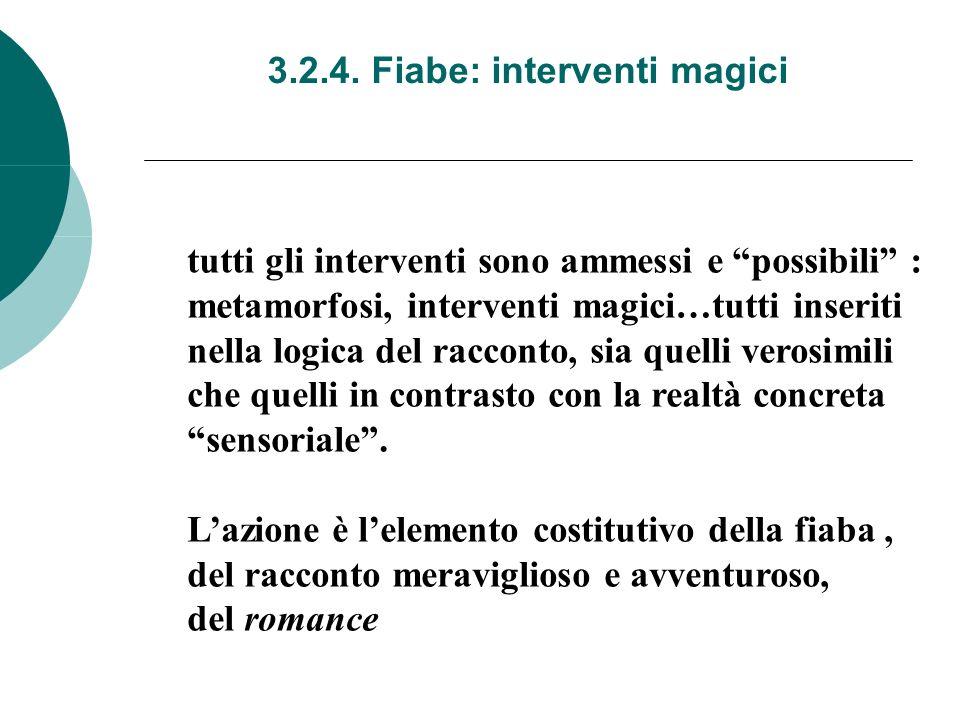 3.2.4. Fiabe: interventi magici tutti gli interventi sono ammessi e possibili : metamorfosi, interventi magici…tutti inseriti nella logica del raccont
