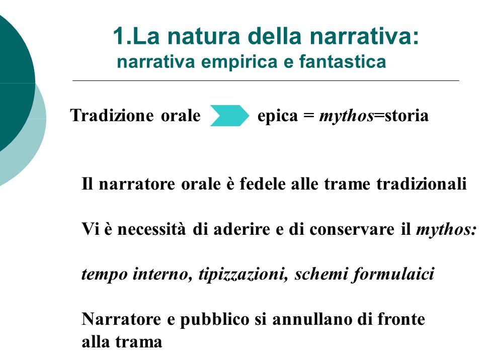 1.La natura della narrativa: narrativa empirica e fantastica Tradizione orale epica = mythos=storia Il narratore orale è fedele alle trame tradizional