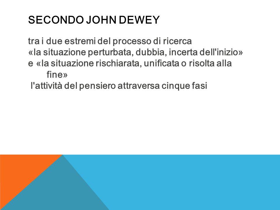 SECONDO JOHN DEWEY tra i due estremi del processo di ricerca «la situazione perturbata, dubbia, incerta dell inizio» e «la situazione rischiarata, unificata o risolta alla fine» l attività del pensiero attraversa cinque fasi