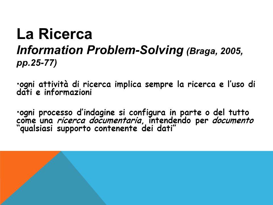 La Ricerca Information Problem-Solving (Braga, 2005, pp.25-77) ogni attività di ricerca implica sempre la ricerca e luso di dati e informazioni ogni processo dindagine si configura in parte o del tutto come una ricerca documentaria, intendendo per documento qualsiasi supporto contenente dei dati