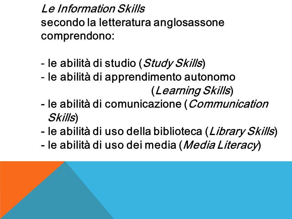 Le Information Skills secondo la letteratura anglosassone comprendono: - le abilità di studio (Study Skills) - le abilità di apprendimento autonomo (Learning Skills) - le abilità di comunicazione (Communication Skills) - le abilità di uso della biblioteca (Library Skills) - le abilità di uso dei media (Media Literacy)