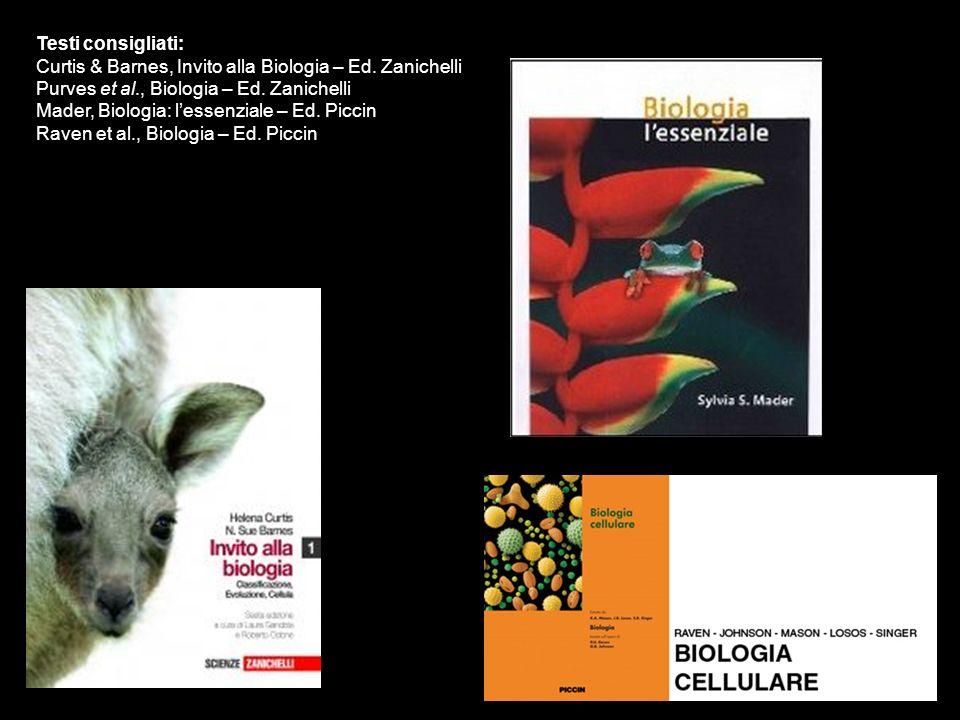 Testi consigliati: Curtis & Barnes, Invito alla Biologia – Ed. Zanichelli Purves et al., Biologia – Ed. Zanichelli Mader, Biologia: lessenziale – Ed.