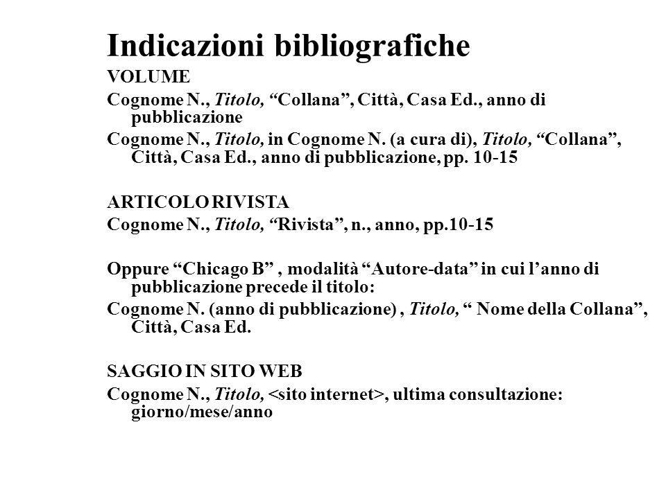 Indicazioni bibliografiche VOLUME Cognome N., Titolo, Collana, Città, Casa Ed., anno di pubblicazione Cognome N., Titolo, in Cognome N. (a cura di), T