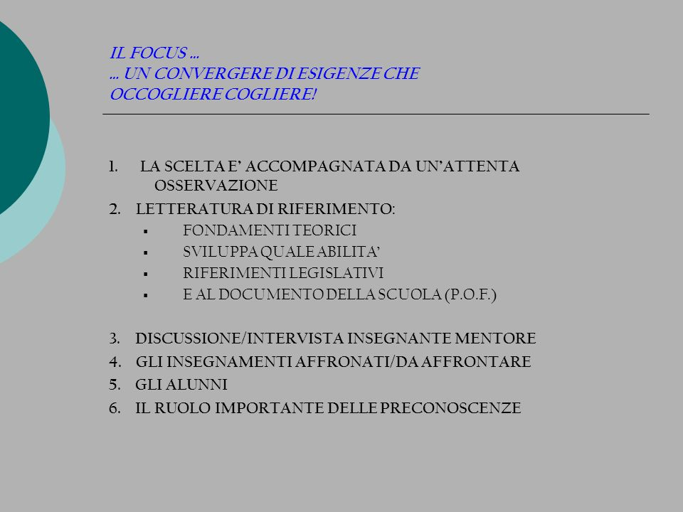 MICROTEACHING UNOCCASIONE PER PROVARE E SPERIMENTARE 1) UTILIZZO RAGIONATO DELLE GRIGLIE 2) IL GRUPPO: ELEMENTO FORZA, PER PROVARE A PROGETTARE I MICROINTERVENTI SIMULATI 3) LEGGERSI E RAGIONARE DOPO LA PROPRIA E ALTRUI PERFORMANCE, QUALE IMPORTANTE MOMENTO PER > RIVEDERSI PER RIFLETTERE > RILFETTERE PER RIPROGETTARE 4) PRESA VISIONE DEI FILMATI: ASPETTI DA CONSIDERARE > LINGUAGGIO VERBALE E NON > LA CINESIA: MIMICA FACCIALE, GESTUALITA, SGUARDO