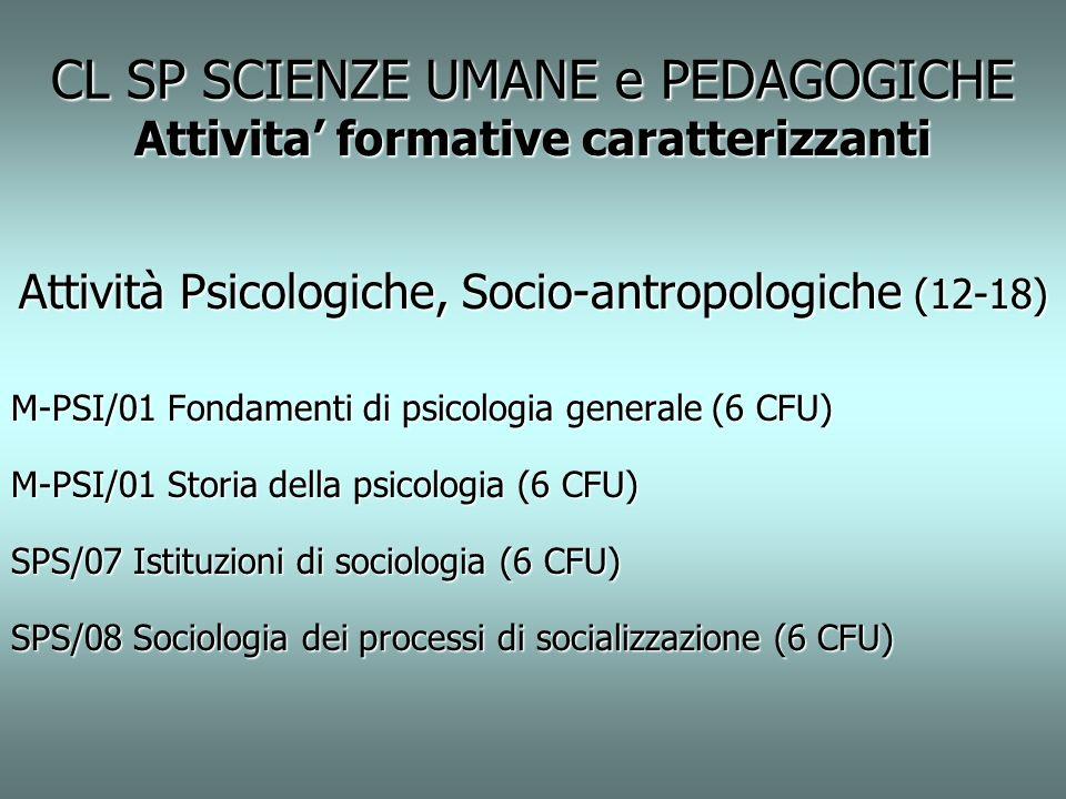CL SP SCIENZE UMANE e PEDAGOGICHE Attivita formative caratterizzanti Attività Psicologiche, Socio-antropologiche (12-18) M-PSI/01 Fondamenti di psicol