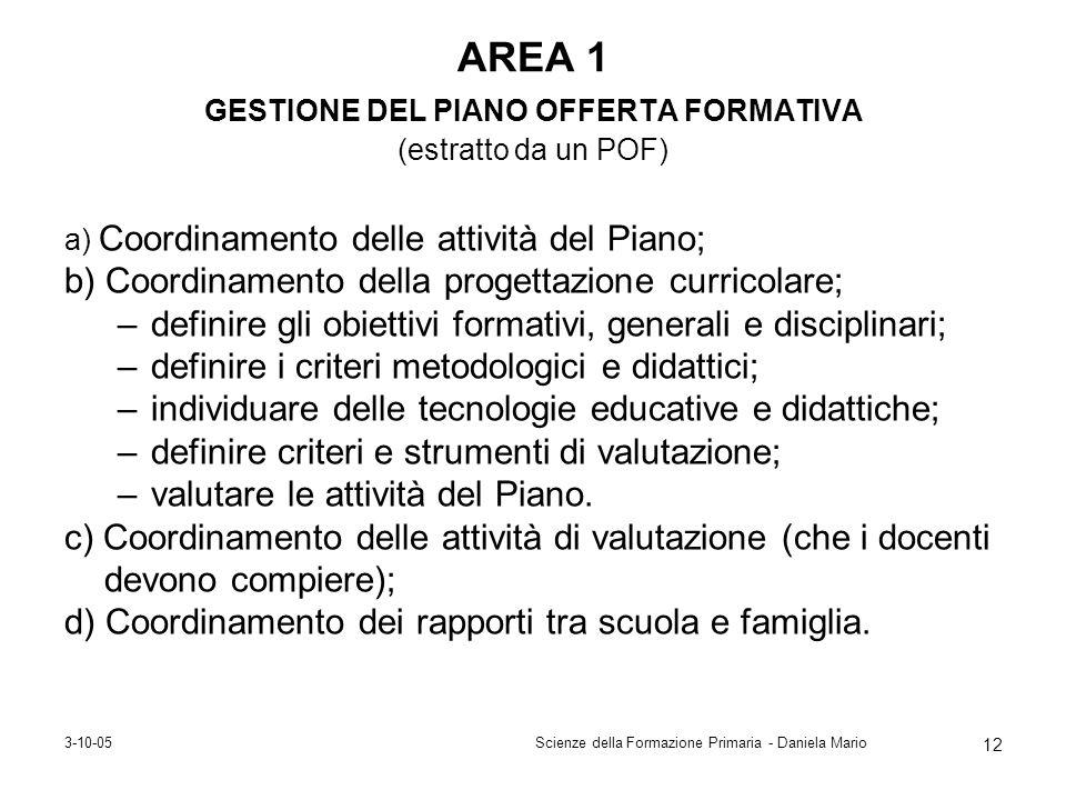 3-10-05Scienze della Formazione Primaria - Daniela Mario 12 AREA 1 GESTIONE DEL PIANO OFFERTA FORMATIVA (estratto da un POF) a) Coordinamento delle at