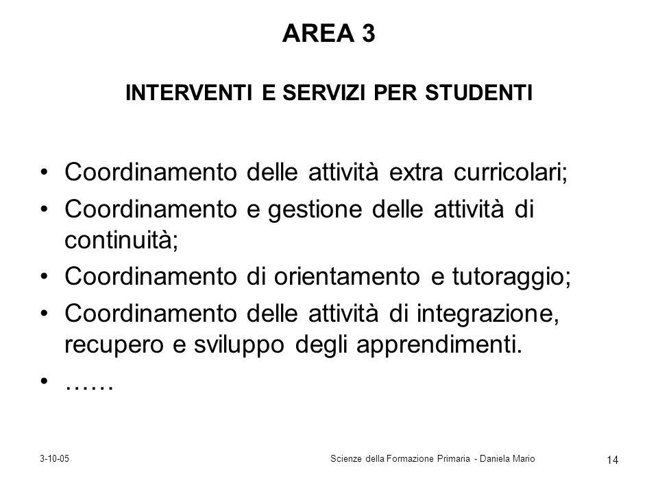 3-10-05Scienze della Formazione Primaria - Daniela Mario 14 AREA 3 INTERVENTI E SERVIZI PER STUDENTI Coordinamento delle attività extra curricolari; C