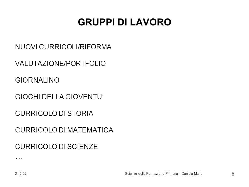 3-10-05Scienze della Formazione Primaria - Daniela Mario 8 GRUPPI DI LAVORO NUOVI CURRICOLI/RIFORMA VALUTAZIONE/PORTFOLIO GIORNALINO GIOCHI DELLA GIOV