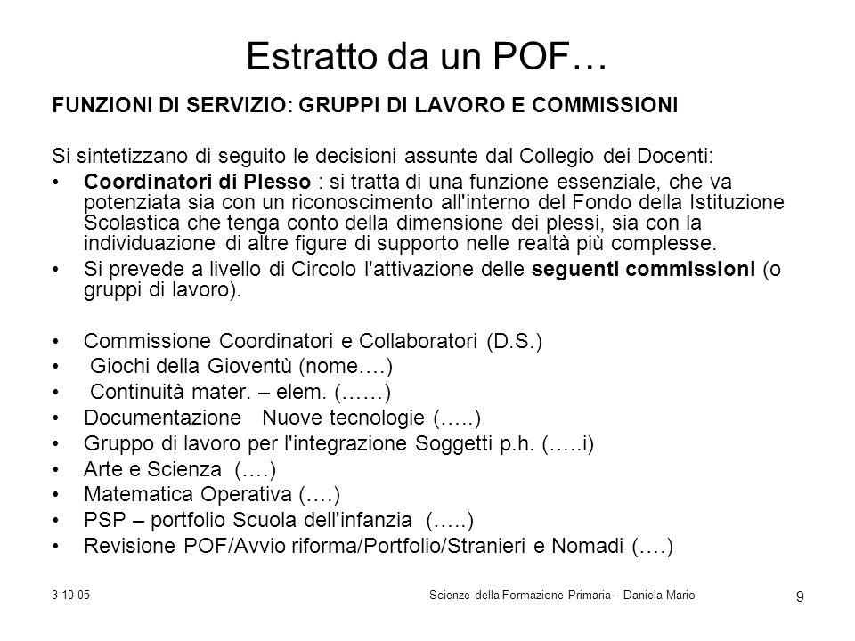 3-10-05Scienze della Formazione Primaria - Daniela Mario 9 Estratto da un POF… FUNZIONI DI SERVIZIO: GRUPPI DI LAVORO E COMMISSIONI Si sintetizzano di