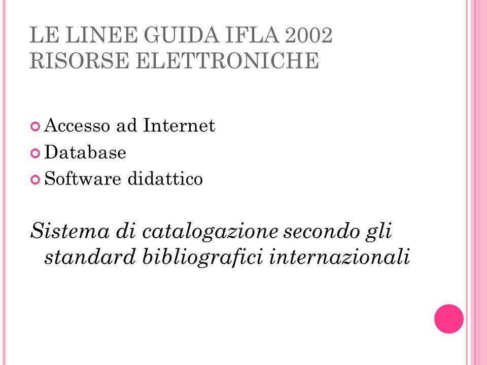 LE LINEE GUIDA IFLA 2002 RISORSE ELETTRONICHE Accesso ad Internet Database Software didattico Sistema di catalogazione secondo gli standard bibliograf