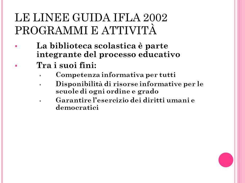 LE LINEE GUIDA IFLA 2002 PROGRAMMI E ATTIVITÀ La biblioteca scolastica è parte integrante del processo educativo Tra i suoi fini: Competenza informati