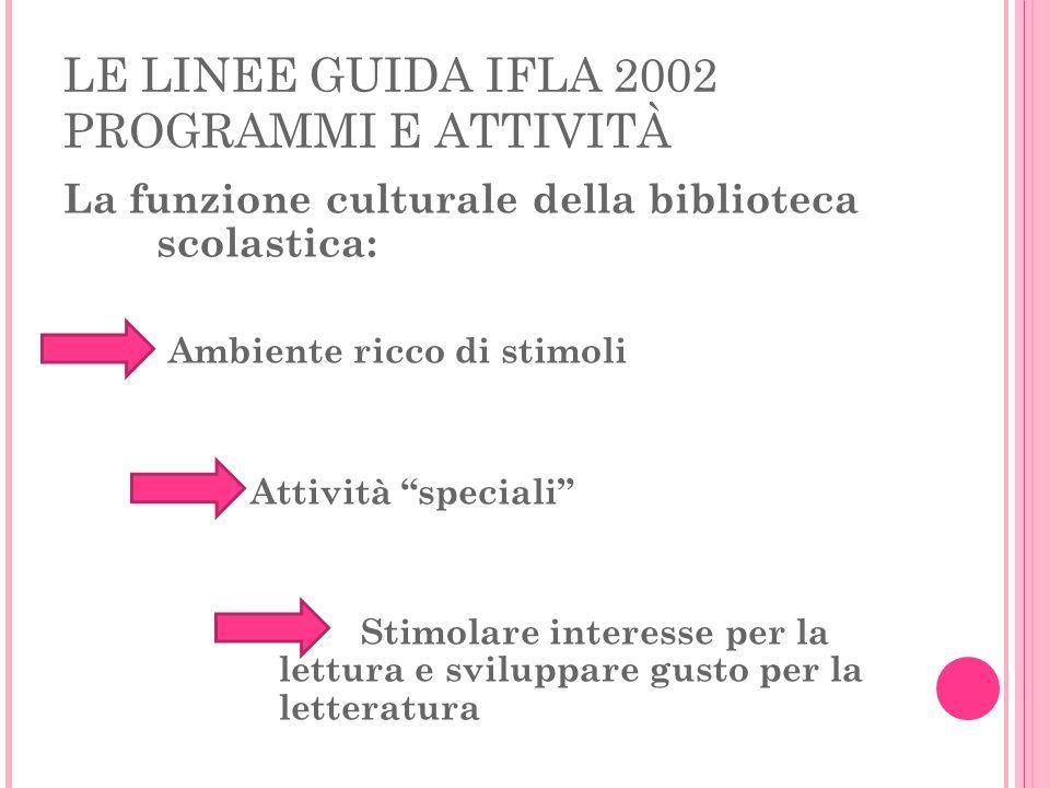 LE LINEE GUIDA IFLA 2002 PROGRAMMI E ATTIVITÀ La funzione culturale della biblioteca scolastica: Ambiente ricco di stimoli Attività speciali Stimolare