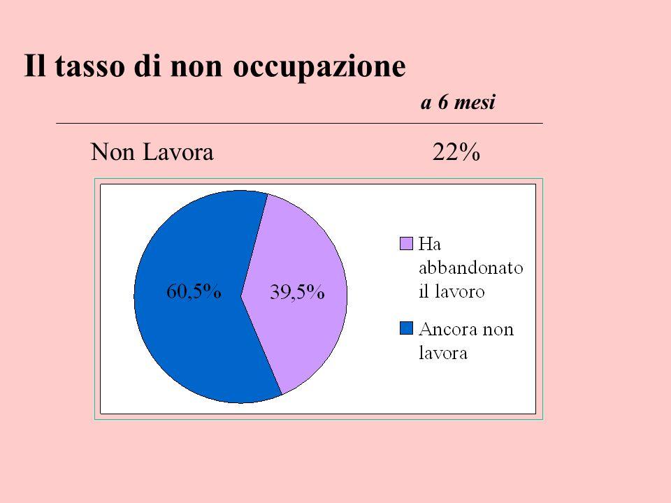 lavora stabilmente 21% 45% 52% durante studi alla laurea a 6 mesi La stabilizzazione del lavoro