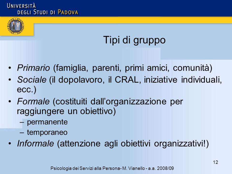 12 Psicologia dei Servizi alla Persona- M.Vianello - a.a.