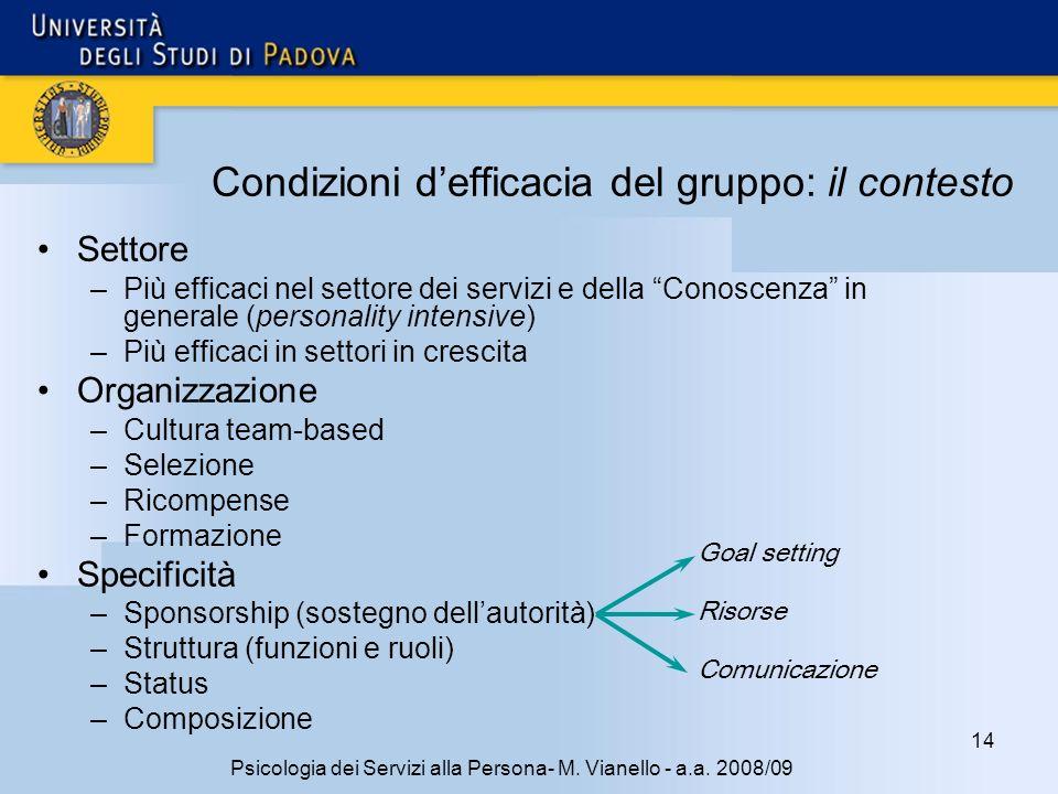 14 Psicologia dei Servizi alla Persona- M.Vianello - a.a.
