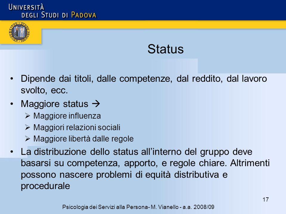 17 Psicologia dei Servizi alla Persona- M.Vianello - a.a.