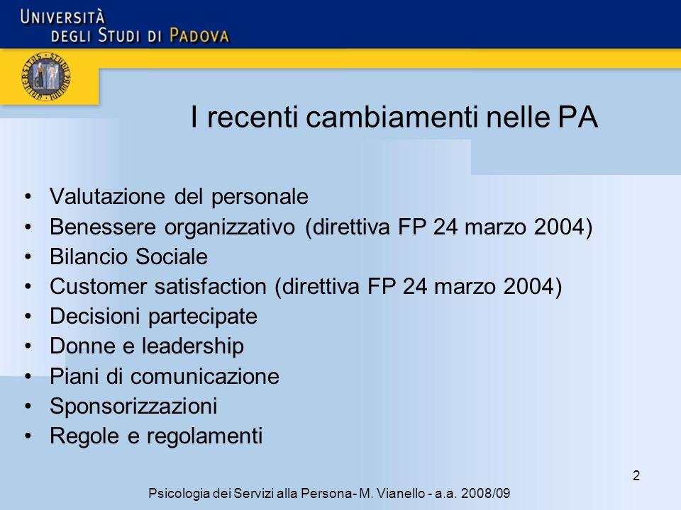 2 Psicologia dei Servizi alla Persona- M. Vianello - a.a. 2008/09 I recenti cambiamenti nelle PA Valutazione del personale Benessere organizzativo (di