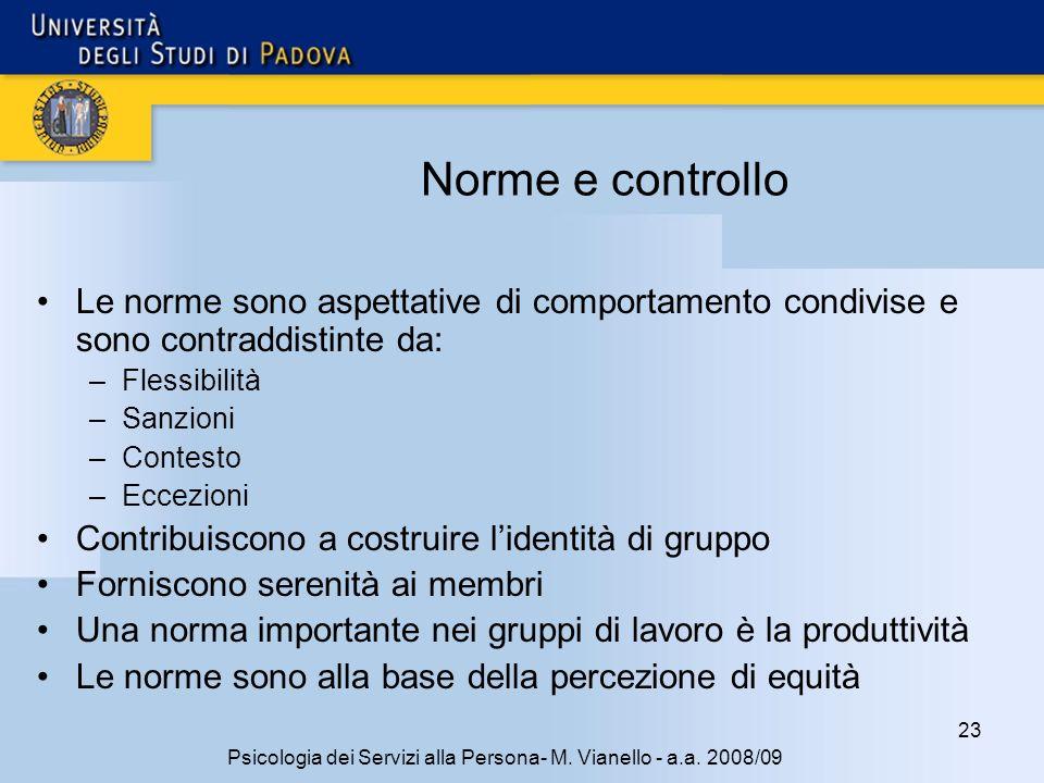 23 Psicologia dei Servizi alla Persona- M. Vianello - a.a. 2008/09 Norme e controllo Le norme sono aspettative di comportamento condivise e sono contr