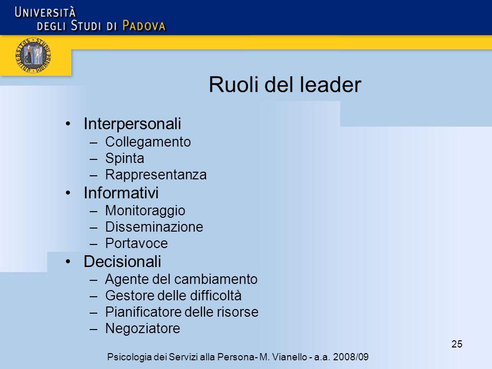 25 Psicologia dei Servizi alla Persona- M. Vianello - a.a. 2008/09 Ruoli del leader Interpersonali –Collegamento –Spinta –Rappresentanza Informativi –