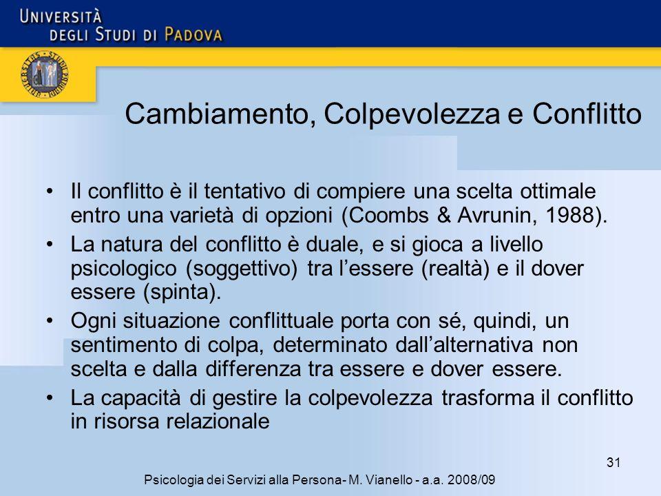 31 Psicologia dei Servizi alla Persona- M. Vianello - a.a. 2008/09 Cambiamento, Colpevolezza e Conflitto Il conflitto è il tentativo di compiere una s